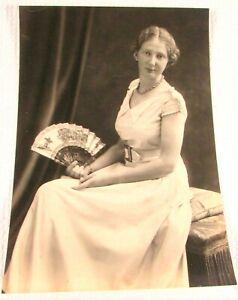 Circa 1915 Antique B&W Photo Pretty Woman Seated With Decorative Folding Fan
