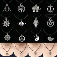 NEW Hot Silver Choker Pendant Necklace Lucky Women Men Charm Black Leather Cord