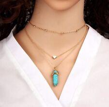 100% Naturale pietra blu ciondolo a forma di colonna esagonale Gold Tone 3 Strati Collana Catena