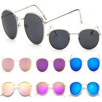 Cool Fashion Men Women's Vintage Round Sunglasses Retro Oversized Mirror Glasses
