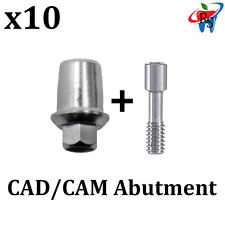 10x Dental Implant CAD/CAM Ti-Base Titanium Abutment Internal Hex + Screw