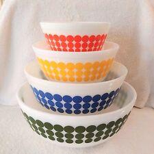 Vintage Pyrex New Dots Nesting Mixing Bowls Complete Set