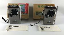 (2) Sony ICB-350W Citizen Band Radio Transceiver Walkie Talkie Vintage CB 1976