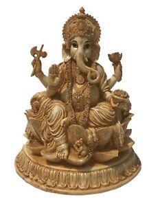 Ganesha Sitting on Lotus, Lord Ganesha Statue Figurine Sculpture