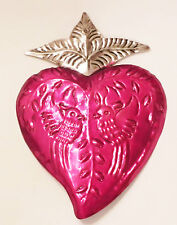Unique Mexican Tin Heart Wall Hanging Ornament Doves Hand Punched 10