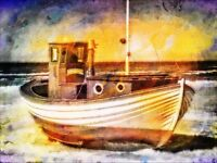 """perfact 36x24 oil painting handpainted on canvas """"a boat""""@NO353"""