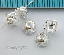 8x BRIGHT STERLING SILVER FLOWER BEAD CAP 6mm SPACER BEAD #2657