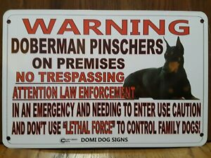 "Metal Warning Doberman Pinschers For FENCE ,Beware Of Dog 8""x12"""