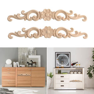 1PC Exquisite Wooden Carved Applique Frame Decor Onlay Furniture Craft Door