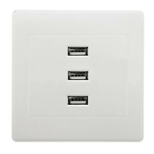3 USB Port Home Decor Power Outlet Plate Panel Wall Charger Socket Adapter 10A