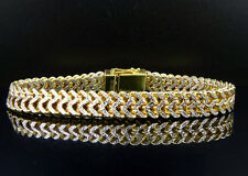 Men's .925 Sterling Silver Two Tone Diamond Cut Franco Link Bracelet 10mm 9""