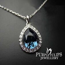 18CT White Gold Plated Sapphire Waterdrop Necklace MadeWith Swarovski Crystals