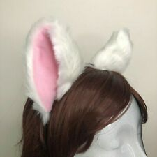 Big Cat ear Kitty Headwear White Furry Pink White inside Animal Headband Costume