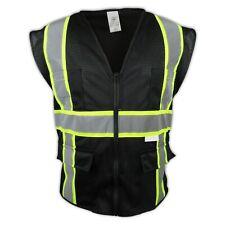 Large Black Safety Vest Surveyor High Visibility 4 Pockets Amp Phone Pocket