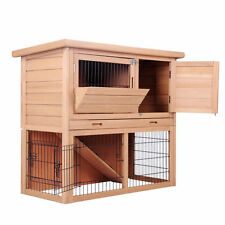 Rabbit Hutch Chicken Coop Guinea Pig Ferret Cage Hen House 2 Storey Run 78B