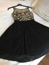 Quiz Prom Party Bridesmaid Black/Gold Dress Size:16