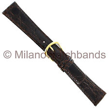 19mm Speidel Genuine Crocodile Dark Brown Stitched Mens Watch Band