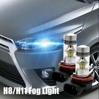 2PCS H8 H11 100W 2323 LED SMD Feu de Phare Brouillard Blanc Ampoule 6000K