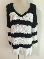 Free People Loose Fit V-Neck Cotton Blend Tunic Sweater Black & White Stripes S