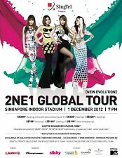 "2NE1 ""NEW EVOLUTION GLOBAL TOUR"" 2012 SINGAPORE CONCERT POSTER-K-pop,Hip Hop,R&B"