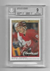 1990-91 OPC Premier: Sergei Fedorov #30 RC > Authentic Rookie Crd > Graded BGS 9