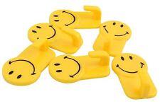 Plastic Self-Adhesive Smiley Face Hooks, 1 Kg Load Capacity, 6 Piece Set