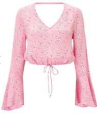 Miss Selfridge Pink Flute Sleeve Crop Top Size 8 RRP £25 Lovely Ditsy Print