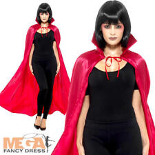 Satin Devil Cape Mens Womens Fancy Dress Red Halloween Gothic Costume Accessory