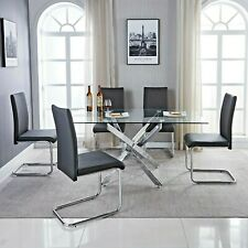 LEONARDO Black White Chrome & Glass Dining Table Set And 6 Leather Dining Chairs