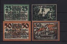 [21612] - 4 x NOTGELD TREBNITZ (heute: Trzebnica), Stadt, 25 - 50 Pf, 05.11.1920