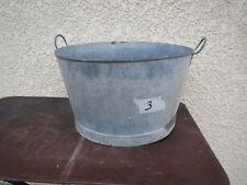 Ancienne bassine lessiveuse zinc vintage déco jardin pot  fleur galva brocante 3