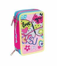 6120097ae1 ASTUCCIO scuola SEVEN - SJ GIRL - Rosa - 3 scomparti - pennarelli matite ecc .