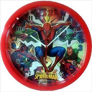 Marvel Spiderman Childrens Kids Analouge Bedroom Novelty Hanging Wall Clock