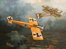 Original Acrylic Painting by P.Hill. Fokker E-III Eindecker Scout. WW1 1916.