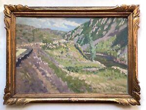Antique French Impressionism oil painting Landscape pointillism Mathilde ARBEY