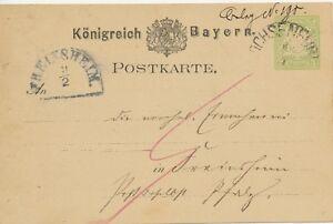BAYERN GANZSACHEN 1879 3 Pf GA WERTSTEMPEL-ABART HKS FREINSHEIM und OCHSENFURT