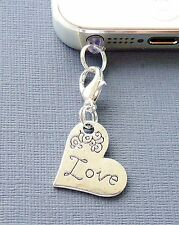 Heart LOVE cell phone Charm Anti Dust proof Plug ear cap jack For iPhone C143
