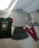 Lot vêtements 10-12ans fille tee shirt Hello Kitty jupe + collant noir et fushia