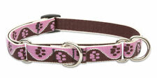 "Lupine Combo Collar 3/4"" TICKLED PINK 10""-14"" Pink Brown Cream Paw Prints NWT"