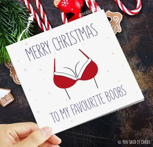 Merry Christmas to my favourite boobs / Funny Rude Novelty Witty Christmas Card