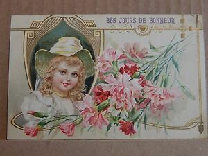 Postcard Art nouveau French New Year Card Posted 1909 Stunning colours