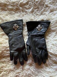 Womens Harley Davidson Black Leather GauntLet Gloves. Bar and ShieLd logo...