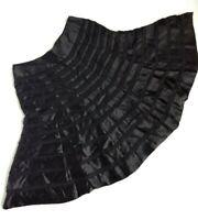 Carmen Marc Valvo Black Silk A Line Skirt Size 6