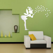 DIY fairy with stars PS wall decal 3D Mirror Stickers Kids Bedroom Decoration