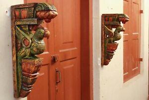 Peacock Corbel Wall Bracket Vintage Style Green Home Decor Wooden Bird Sculpture