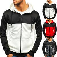 Mens Casual Patchwork Hoodie Long Sleeve Pocket Outwear Blouse Zipper Sweatshirt