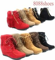 Women/'s S Fashion weather Top Low Heel Ankle Mid-Calf Boot Shoes 4 Colors 5-10
