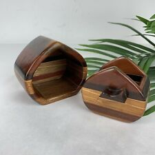 Vintage Early Buzz Coren Handmade Stacked Wood Carved Trinket Box Drawer 1984