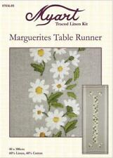 MYART Traced linen kit embroidery Marguerites Table Runner 40 x 100 cm