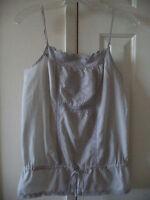 Pimkie Grey Eyelet & Crochet Trim Tank Top Sleeveless Blouse Shirt Top M L 12 14